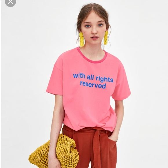 2ece3547 Zara Tops | New Slogan Graphic Tee Pink Women Large | Poshmark